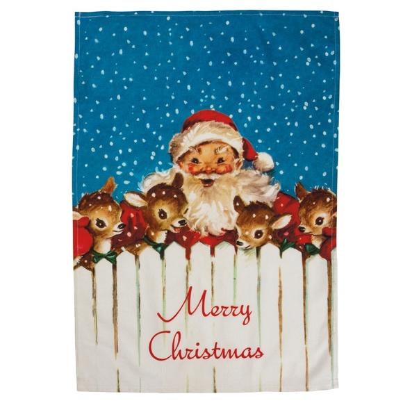 Merry Christmas Santa Dish Towel Retro